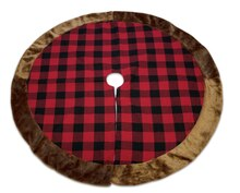 Plaid Tree Skirt w/ Fur Trim, medium