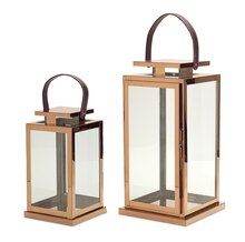 Lantern With Leather Handle, Set of 2