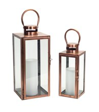 Rectangle Copper Lantern, Set of 2