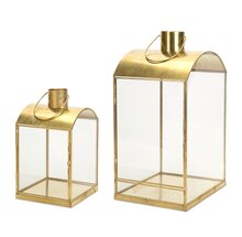 Square Gold Lantern, Set of 2
