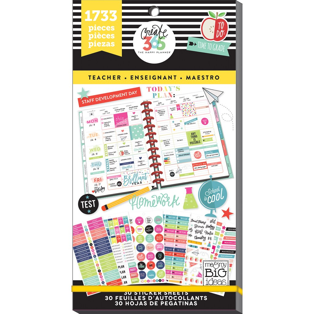 Create 365 the happy planner teacher value pack stickers for Happy planner accessories
