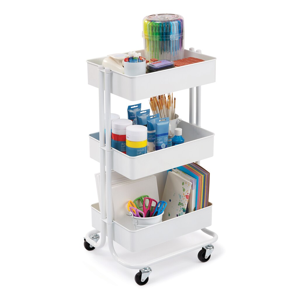 Buy The White Lexington 3 Tier Rolling Cart By
