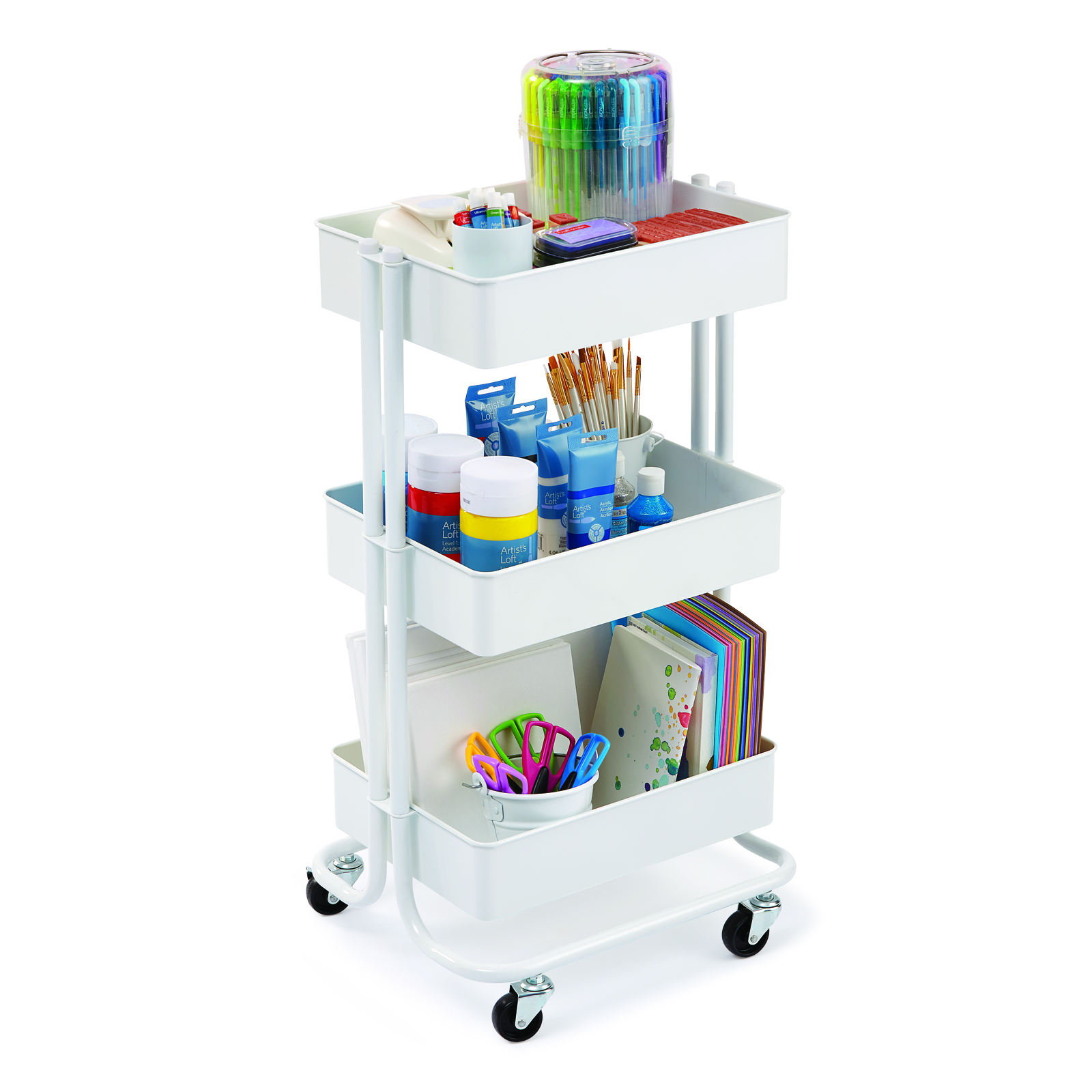 White Lexington 3 Tier Rolling Cart By Recollections