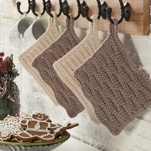 Pine Cone Lodge Stripe Crochet Trivet, medium