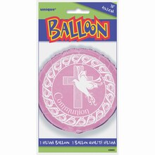 "Foil Pink Cross First Communion Balloon, 18"" Packaged"