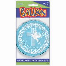 "Foil Blue Cross First Communion Balloon, 18"" Packaged"