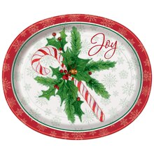 Oval Candy Cane Christmas Dinner Plates, 8ct
