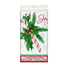 Plastic Candy Cane Christmas Tablecloth