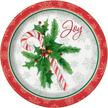 "7"" Candy Cane Christmas Party Plates, 8ct"