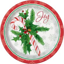 "9"" Candy Cane Christmas Party Plates, 8ct"