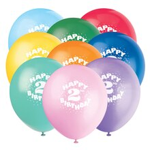 Latex Happy 2nd Birthday Balloons, Assorted 6ct