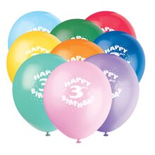 Latex Happy 3rd Birthday Balloons, Assorted 6ct