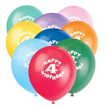 Latex Happy 4th Birthday Balloons, Assorted 6ct