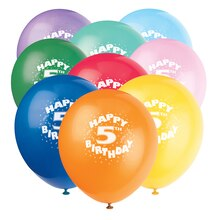 Latex Happy 5th Birthday Balloons, Assorted 6ct