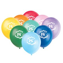 Latex Happy 8th Birthday Balloons, Assorted 6ct