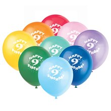 Latex Happy 9th Birthday Balloons, Assorted 6ct