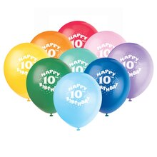 Latex Happy 10th Birthday Balloons, Assorted 6ct