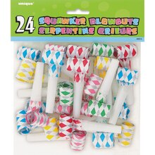 Multicolor Diamond Squawker Party Blowers, 24ct