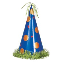 Jumbo Blue and Orange Polka Dot Party Hat Centerpiece Decoration, 13""