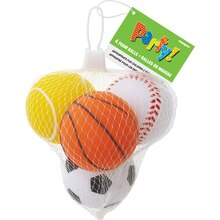 Foam Sports Ball Party Favors, 4 Pack