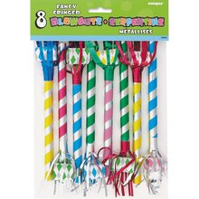 Fancy Fringed Party Blowers, 8ct