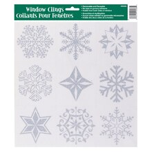 Silver Glitter Snowflakes Winter Window Cling Sheet