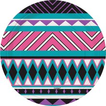 "7"" Aztec Teal Party Plates, 8ct, medium"