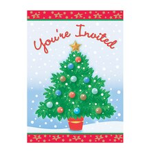 Shining Tree Christmas Invitations, 8ct