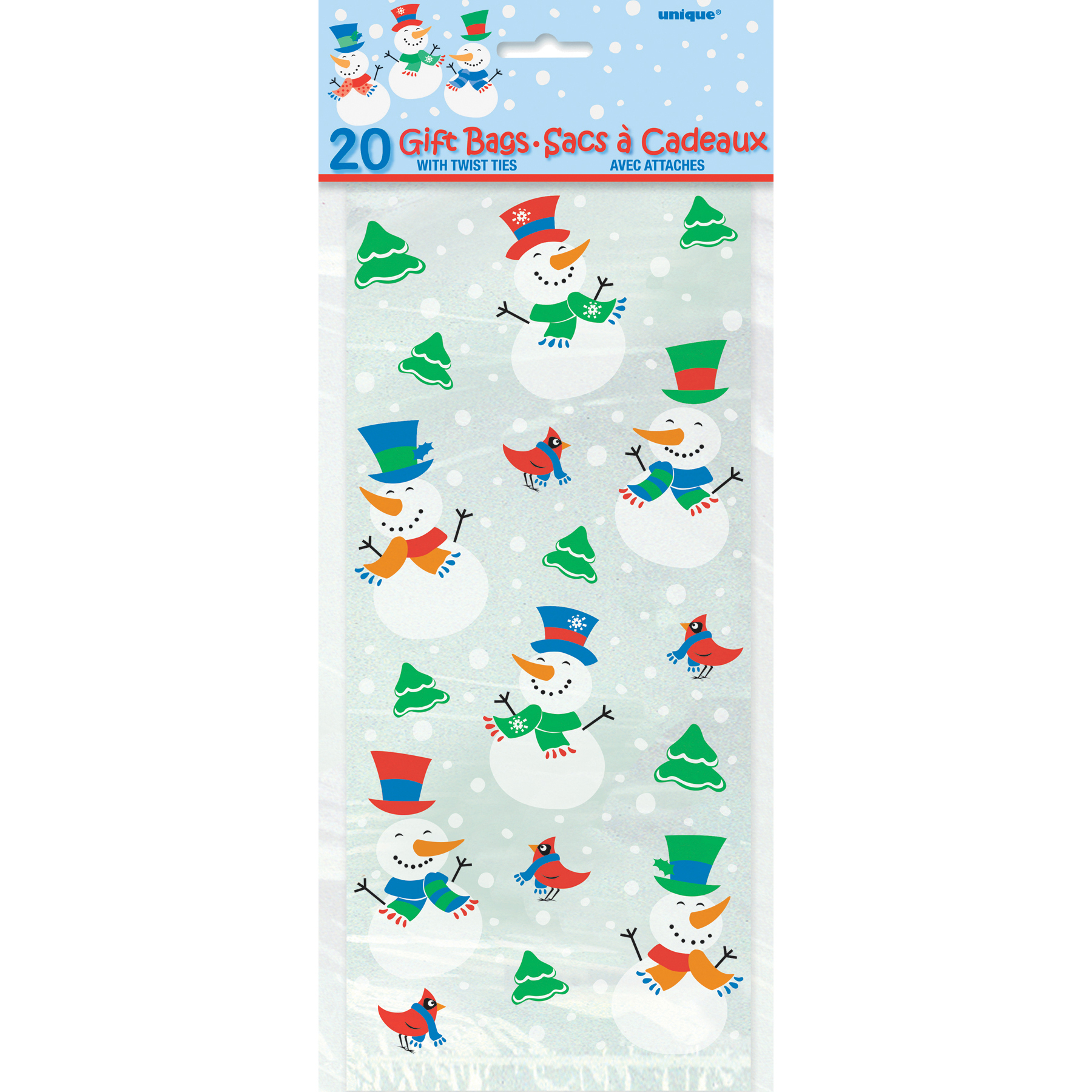 Snowman glee holiday cellophane bags ct