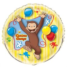 Giant Round Foil Curious George Balloon, 34""