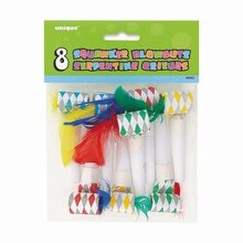 Feather Squawker Party Blowers, 8ct
