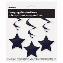 "26"" Hanging Black Star Decorations, 3ct In Package"