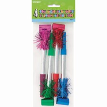 Long Fringed Squawker Party Blowers, 4ct