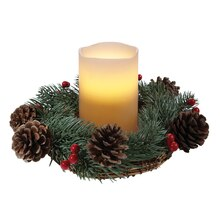 LED Candle Centerpiece with Pinecones & Berries