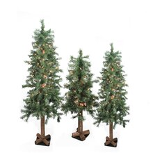 Set of 3 Pre-Lit Woodland Alpine Artificial Christmas Trees, Clear