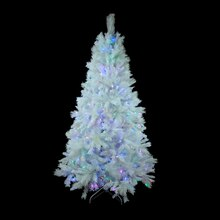 7.5 Ft. Pre-Lit Single Plug Medium White Iridescent Pine Artificial Christmas Tree, Multicolor LED Lights