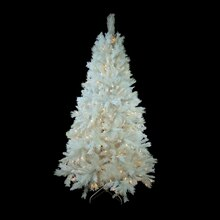 6.5 Ft. Pre-Lit Single Plug Medium White Iridescent Pine Artificial Christmas Tree, Multi-Function Clear LED Lights