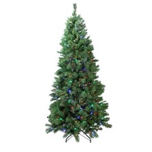 7 Ft. Pre-Lit Single Plug Slim Glacier Artificial Christmas Tree, Multicolor LED Lights