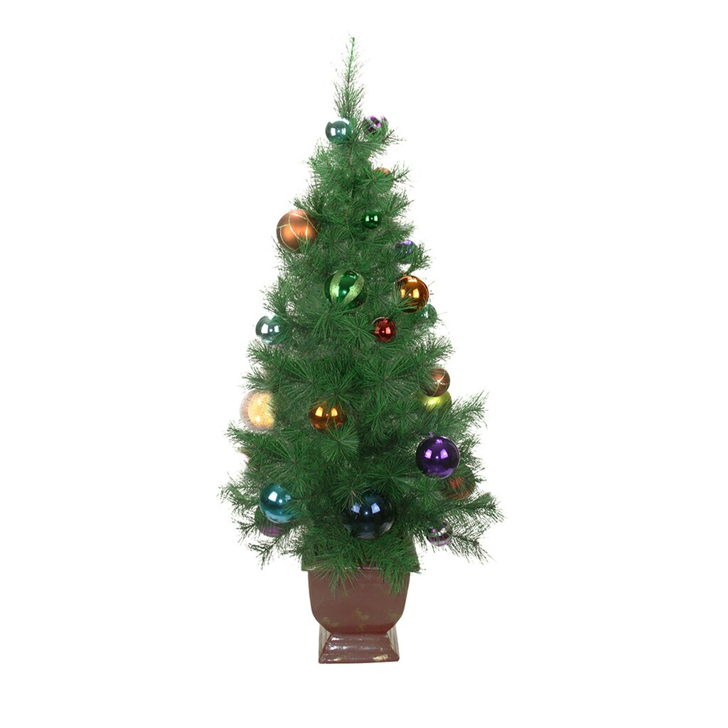 4 Ft. Potted Pre-Decorated Multicolor Ball Ornament Artificial ...
