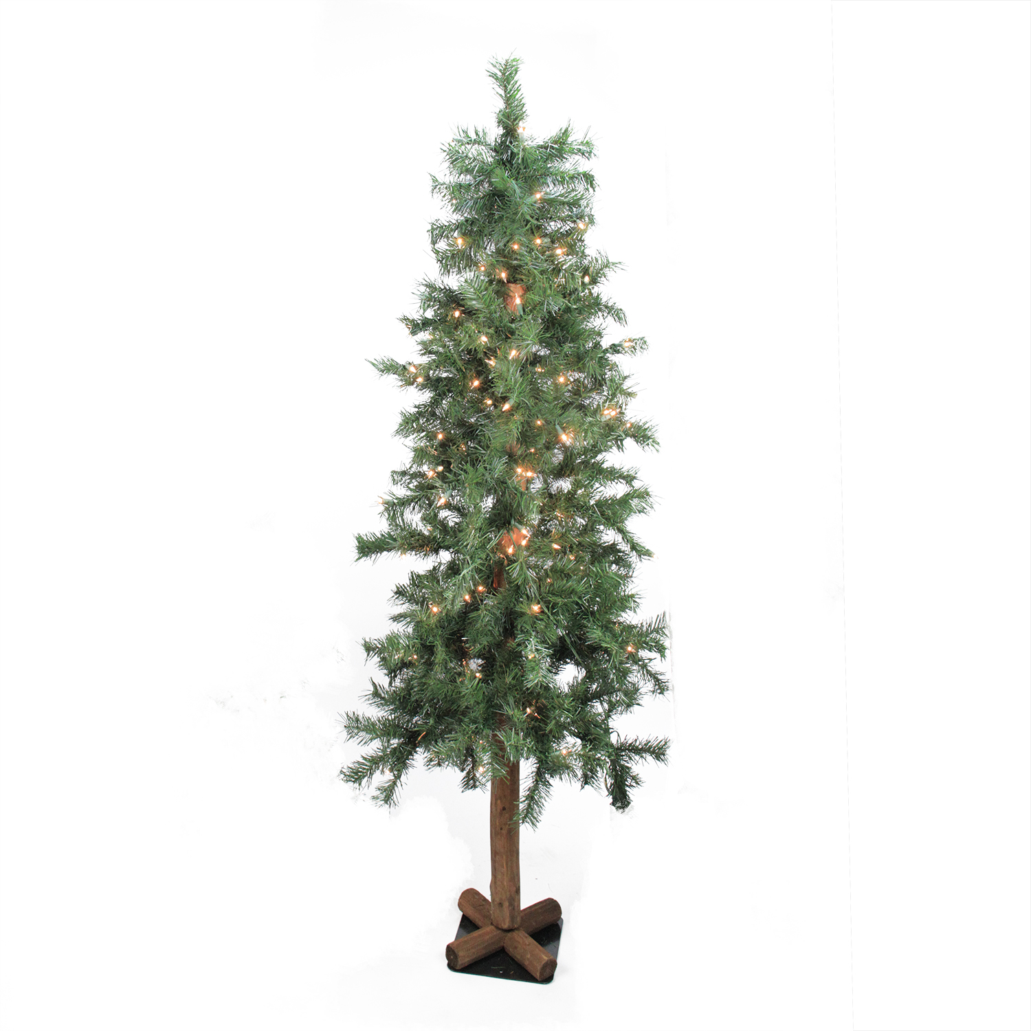 6 Ft. Pre Lit Traditional Woodland Alpine Artificial Christmas Tree, Clear  Lights
