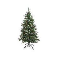 4.5 Ft. Pre-Lit Frosted Denver Pine with Berries Artificial Christmas Tree, Clear Lights