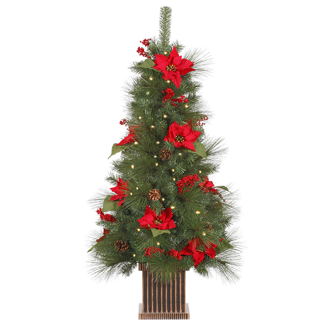 4 Ft. Pre-Lit Poinsettia, Berry & Pine Cone Potted Christmas Tree ...