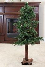 4 Ft. Pre-Lit Woodland Alpine Artificial Christmas Tree, Clear Lights, medium