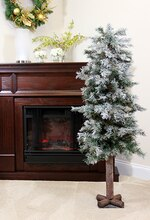 4 Ft. Frosted & Glittered Woodland Alpine Artificial Christmas Tree, Unlit