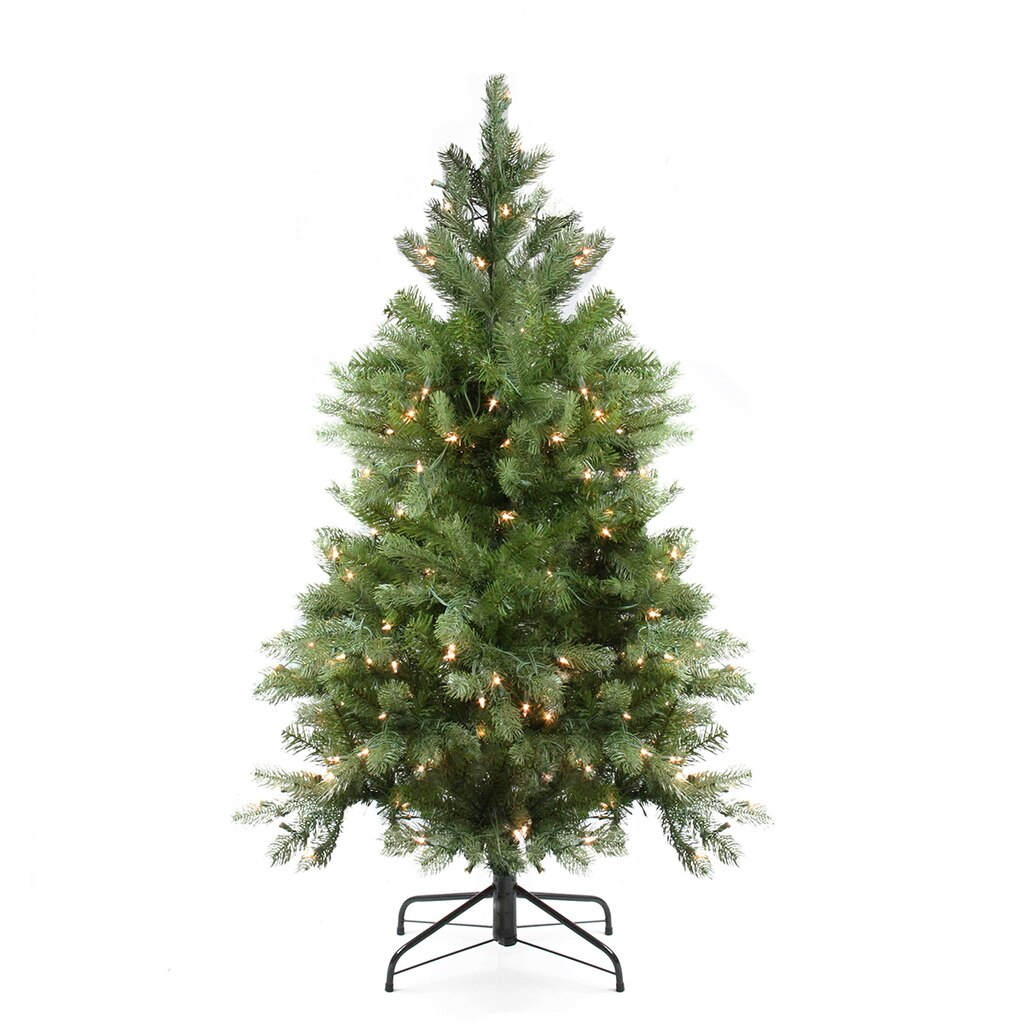 4 ft pre lit noble fir full artificial christmas tree clear lights - Full Artificial Christmas Trees