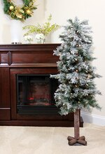 5 Ft.Pre-Lit Frosted & Glittered Woodland Alpine Christmas Tree, Clear Lights