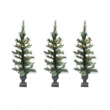 "Set of 3 Pre-Lit 24"" Cashmere Mix Potted Artificial Christmas Trees, Clear Lights"