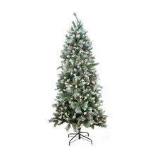 7 Ft. Pre-lit Mixed Snow Pine Artificial Christmas Tree, Clear Lights