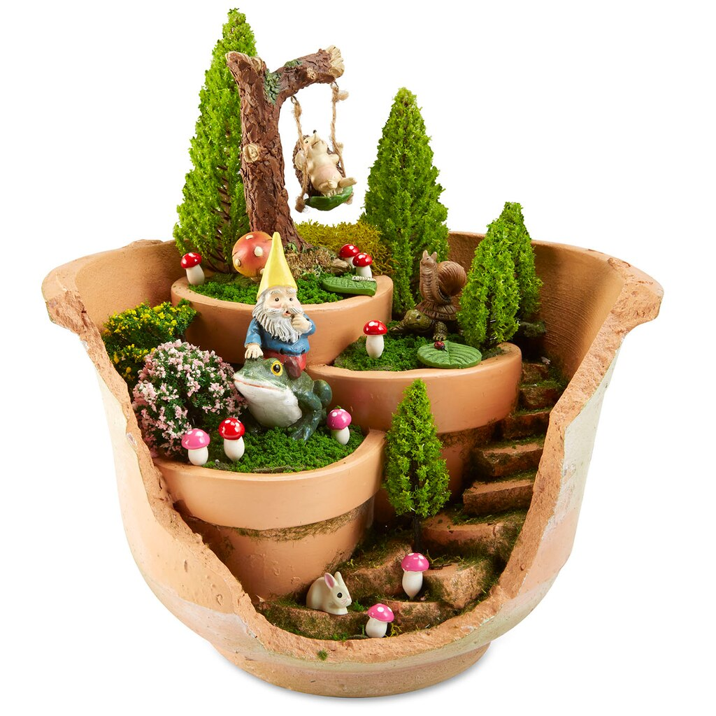 Woodland Cracked Pot Fairy Garden