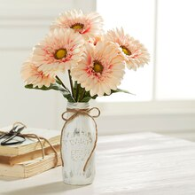 Peach Gerber Daisy Flower Vase, medium